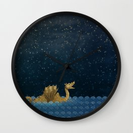 Sea Monster & Stars Night Sky Wall Clock