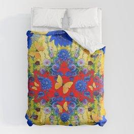YELLOW GARDEN BLUE  FLOWERS YELLOW BUTTERFLIES PATTERN ART Comforters
