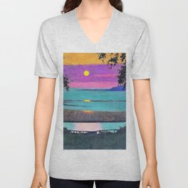 12,000pixel-500dpi - Felix Edouard Vallotton - Sunset at Grace, orange and violet sky Unisex V-Neck