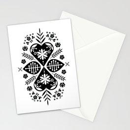 Monochrome Scandi Folk Pattern Art Stationery Cards