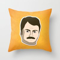 swanson Throw Pillows featuring Ron Swanson by irosebot