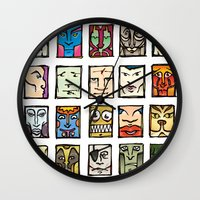 faces Wall Clocks featuring Faces by Jason Covert