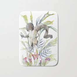 Short Day / Ram Animal Skull and Sarracenia Carnivorous Plant Platycerium Leaves Surreal Bath Mat