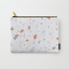 Faded Pastel Terrazzo - Tan, Grey and Orange Speckles - Granite Marble Pattern Carry-All Pouch