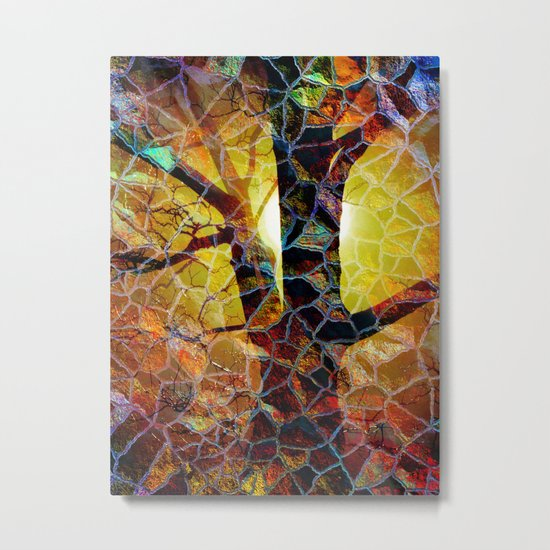 Abstract Glass Mosaic Tree  Metal Print