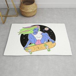 Alien Skater Girl in space Rug
