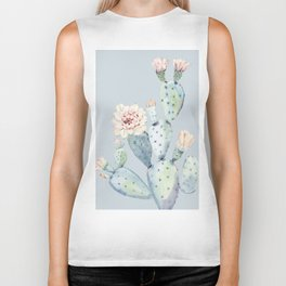 Prettiest Rose Cactus Blue Biker Tank