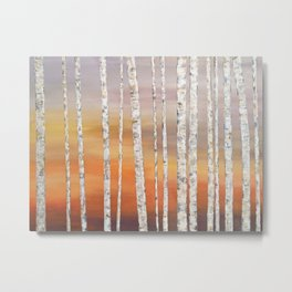 Sunrise Birches Metal Print