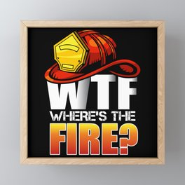 WTF Where's The Fire Helmet Framed Mini Art Print