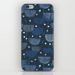 Botanical Block Print M+M Navy by Friztin iPhone Skin