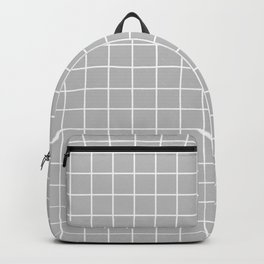 Gray (X11 gray) - grey color - White Lines Grid Pattern Backpack