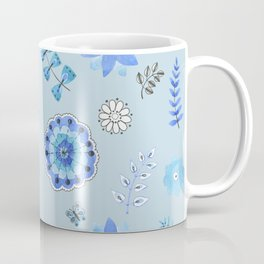 Blue Floral Pattern on Blue - Branches Coffee Mug