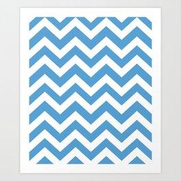 Carolina blue - blue color - Zigzag Chevron Pattern Art Print