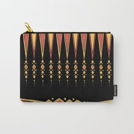 Vintage Tribal Pattern with Art Deco Feel in Orange, Yellow and Black Carry-All Pouch