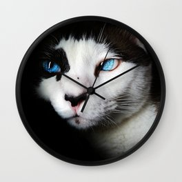 Cat siamese blue eyes Wall Clock