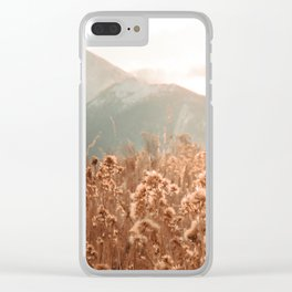 Golden Wheat Mountain // Yellow Heads of Grain Blurry Scenic Peak Clear iPhone Case