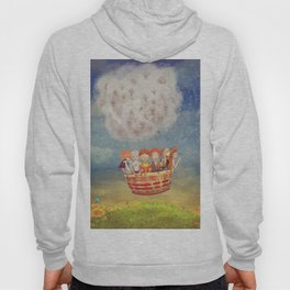 Happy children in the   air balloon in the sky - illustration art Hoody