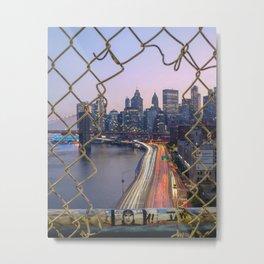 NY Purple Metal Print