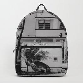 Miami Beach USA Ocean Drive Black&White   Fine Art Travel Photography Backpack