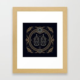 Gemini Zodiac Gold White on Black Background Framed Art Print