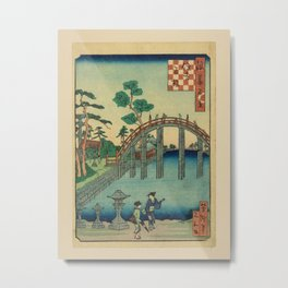 Utagawa Yoshitaki - 100 Views of Naniwa: Curved Bridge at Sumiyoshi Shrine (1880s) Metal Print