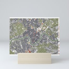 Rome city map engraving Mini Art Print