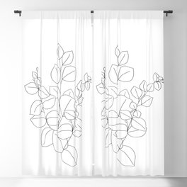 Minimalistic Eucalyptus  Line Art Blackout Curtain
