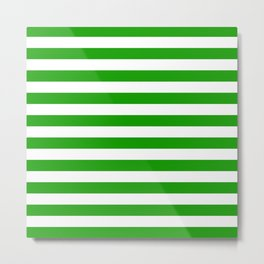 Stripes Texture (Green & White) Metal Print