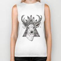 reindeer Biker Tanks featuring Reindeer  by Kate Zessel