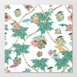 Tropical kitch cocktail pattern Canvas Print