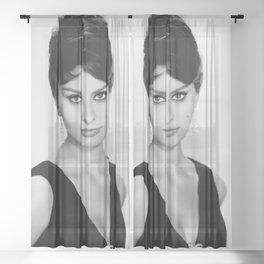 Sophia Loren Celebrity Silk Poster Frameless Sheer Curtain