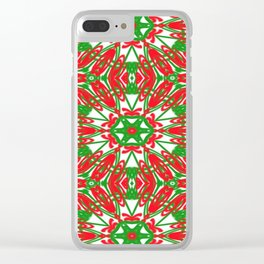 Red, Green and White Kaleidoscope 3376 Clear iPhone Case