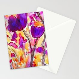 Poppies - Purple Watercolour Stationery Cards
