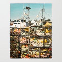 Crab Pot Photograph, Ilwaco Washington Harbor, Northwest Fisherman Boat Photo, Crabber, Seafood Poster