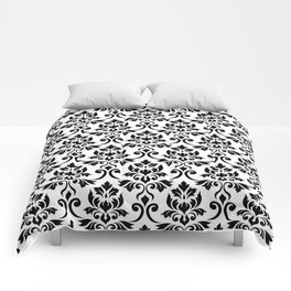 Feuille Damask Pattern Black on White Comforters