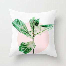 Fiddle leaf - pink pot II Throw Pillow