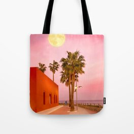 Super Moon At Sunset Tote Bag