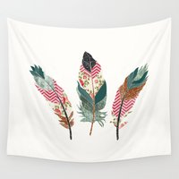 feathers Wall Tapestries featuring Feathers  by Juliana Zimmermann