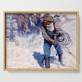 """N C Wyeth Painting """"Roping Wild Horses"""" Serving Tray"""