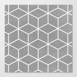 Light Grey and White - Geometric Textured Cube Design Canvas Print
