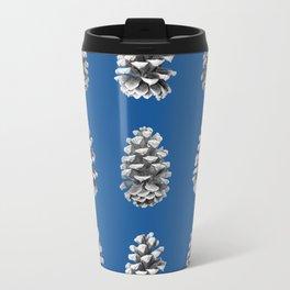 Monochrome Pine Cones Winter Blue Travel Mug