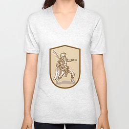 Centurion Roman Soldier Wielding Sword Cartoon Unisex V-Neck