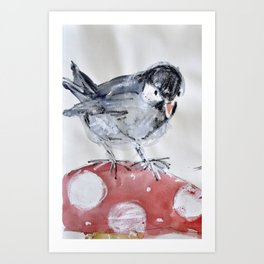 bird on a mushroom Art Print