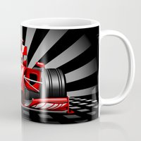 formula 1 Mugs featuring Formula 1 Red Race Car by BluedarkArt