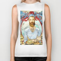 dick Biker Tanks featuring Moby Dick by Rose Draft