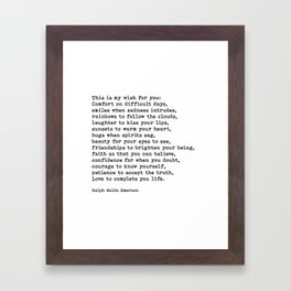 My Wish For You, Ralph Waldo Emerson, Quote Framed Art Print