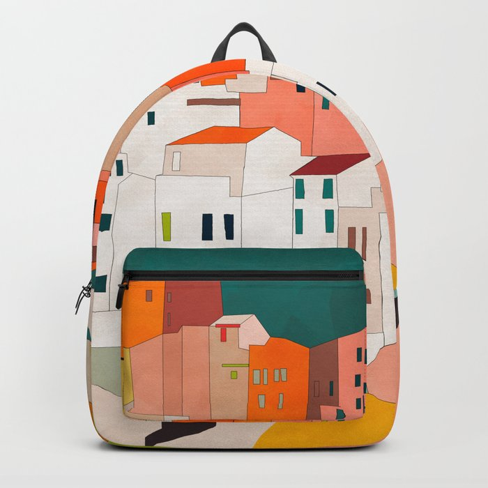 italy coast houses minimal abstract painting Backpack
