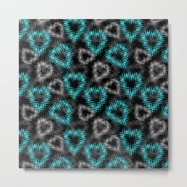Broken heart . Black and turquoise pattern . Metal Print