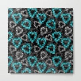 Broken heart . Black and turquoise pattern . Metal Print