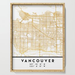 VANCOUVER CANADA CITY STREET MAP ART Serving Tray
